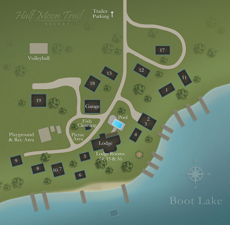 Resort Layout Map of Half Moon Trail Resort   Park Rapids MN Resort